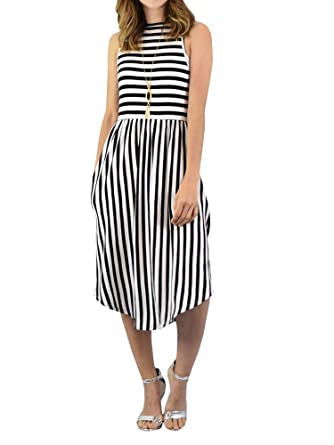 b41d18ca994d Bigyonger Womens Striped Sleeveless Dress Casual Midi Beach Dresses with  Pockets