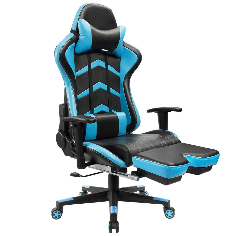 Furmax Gaming Chair High Back Racing Chair,Ergonomic Swivel Computer Chair Executive PU Leather Desk Chair With Footrest, Bucket Seat and Lumbar Support (Blue) by Furmax