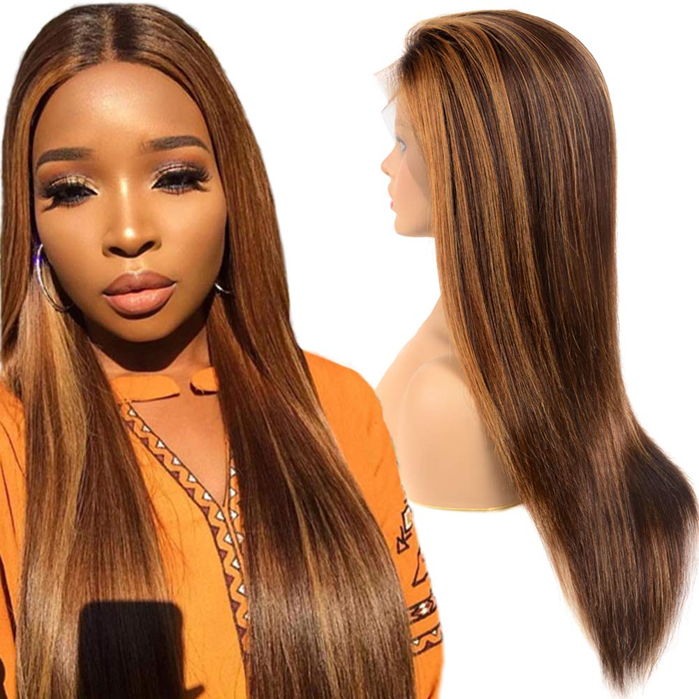 #4/#30 Mix Color Ombre Straight Lace Front Virgin Human Hair Wig 150% Density Brazilian 13x4 Pre Plucked Lace Front Wig with Baby Hair for Women (20inch,4/30,150 Density) 6102YfHAV2BL