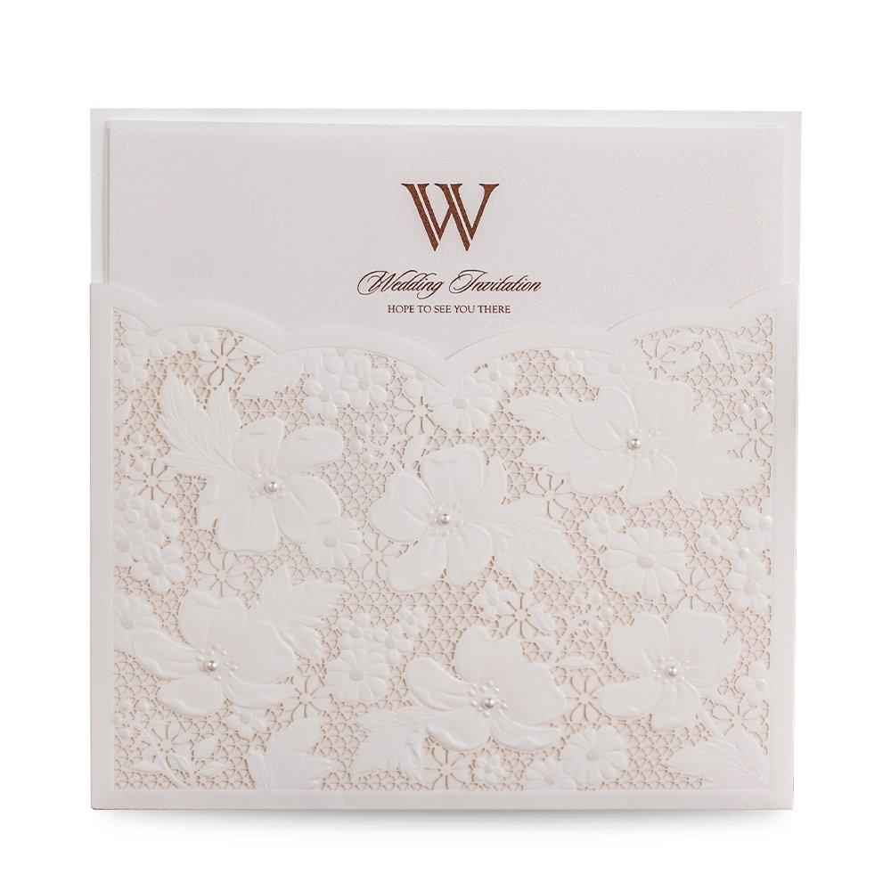 Doris Home wedding invitations with envelopes for Bridal Shower Invitations, Dinner Invitations Laser Cut Flower with Small Pearl Lace Pocket,50pcs,W1101 (50)