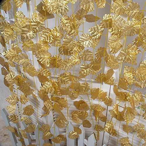 B&S FEEL 95 Inches Artificial Gold Grape Vine Leaf Vine Plant Garland Home Wedding Outdoor Decoration, Set of 12