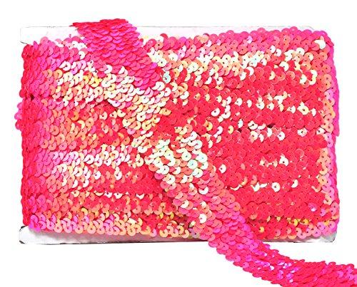 (Mandala Crafts Elastic Sequin, Flat Glitter Stretch Bling Paillette Fabric Ribbon, Metallic Appliqué Trim Lace for Dress Embellish, Headband (1.5 Inches, Iridescent Pink))