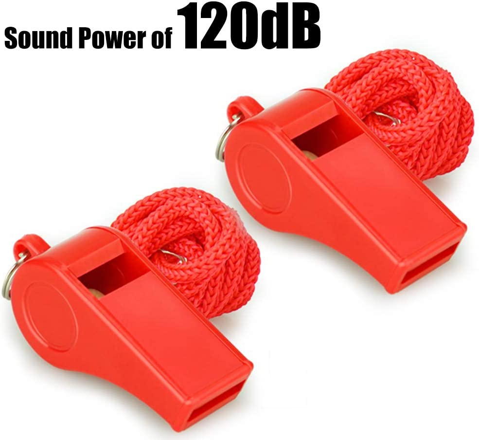 Fya Whistle, Red Emergency Whistle with Lanyard, 2PCS Super Loud Plastic Whistles Perfect for Self-Defense, Lifeguard and Emergencies