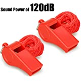 Fya Whistle, Red Emergency Whistle with Lanyard, 2PCS Super Loud Plastic Whistles Perfect for Self-Defense, Lifeguard and Eme
