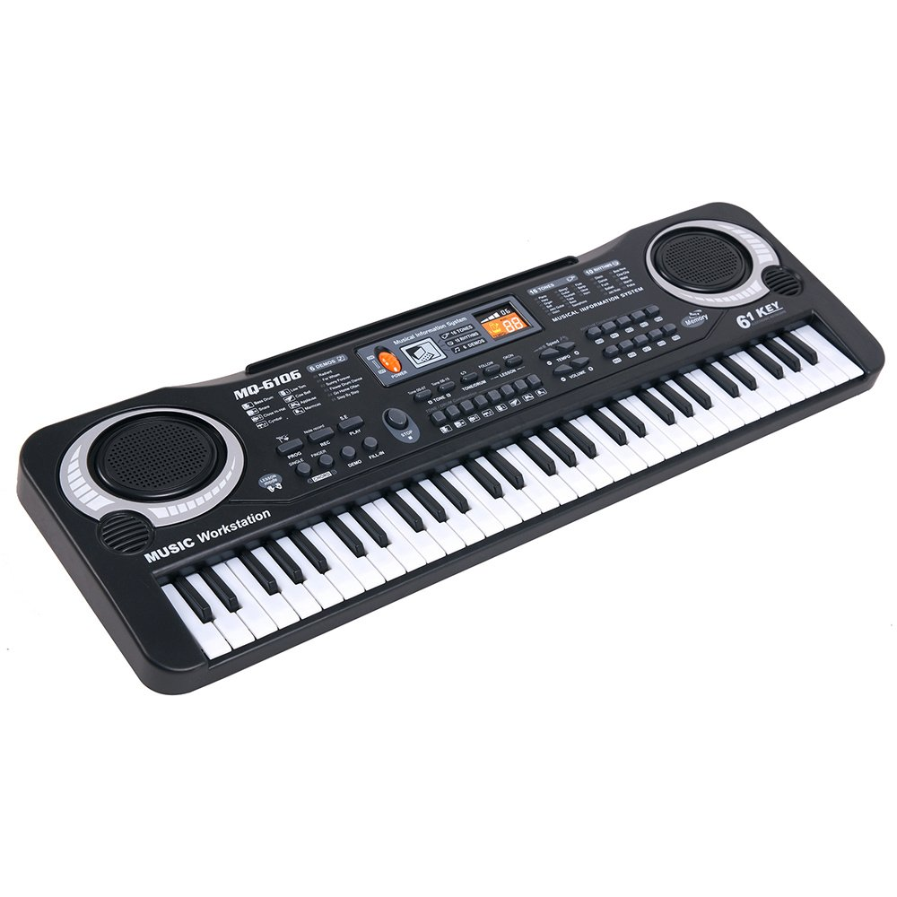 Boshen 61 Keys Electronic Keyboard Portable Digital Piano for Kids Early Education with Microphone, Power or Battery Supply