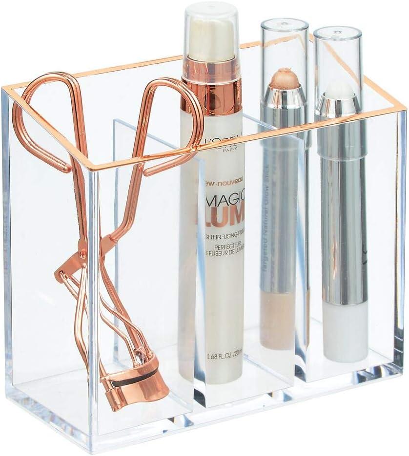 mDesign Organizador de Maquillaje para el Lavabo o el Armario – Caja organizadora de Maquillaje de plástico con 3 divisiones – Caja con Compartimentos para cosméticos – Transparente y Dorado Rojizo