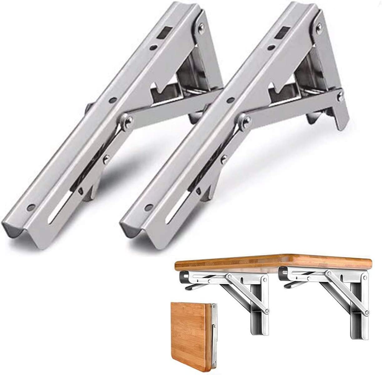 Folding Shelf Brackets 12 Inch, Heavy Duty Stainless Steel Collapsible Shelf Bracket Wall Mounted DIY Triangle Brackets for Bench Table, Space Saving DIY Bracket Max Load 300 lb, 2Pack
