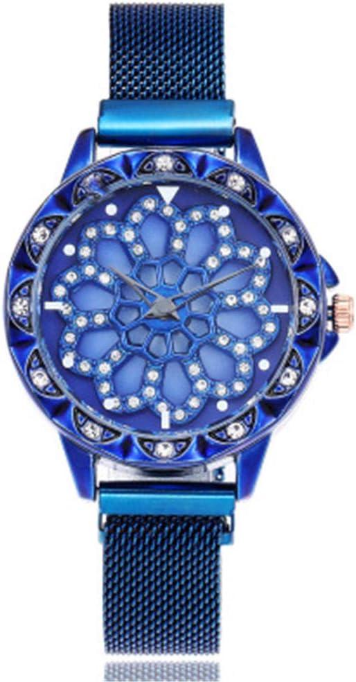 YZCKW Esfera Hueca Reloj Giratorio De Succión De Hierro Vestido Vestido Mesa Decoración D-Azul Reloj De Pulsera