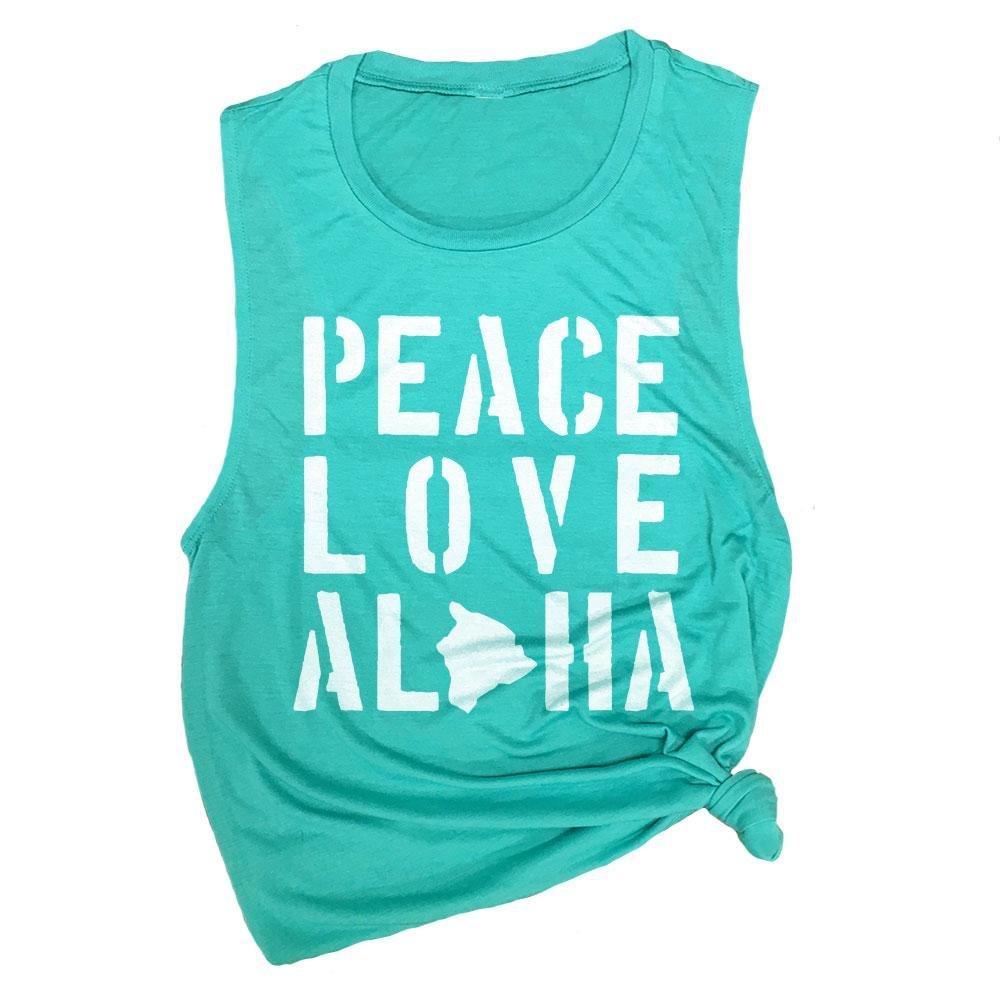 Peace Love Aloha Hawaii Workout Muscle Tee