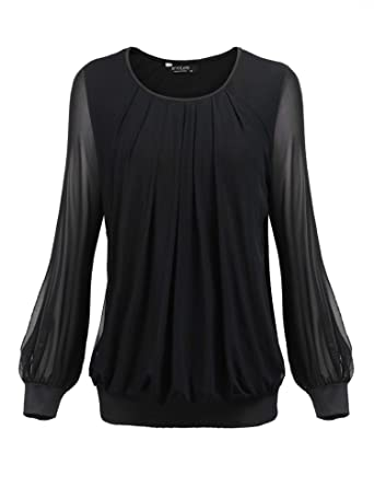 cc614b6e6800db Women s Plus Size Blouses Long Sleeve Scoop Neck Pleated Front Fitted Tops  Casual Office Work Shirt