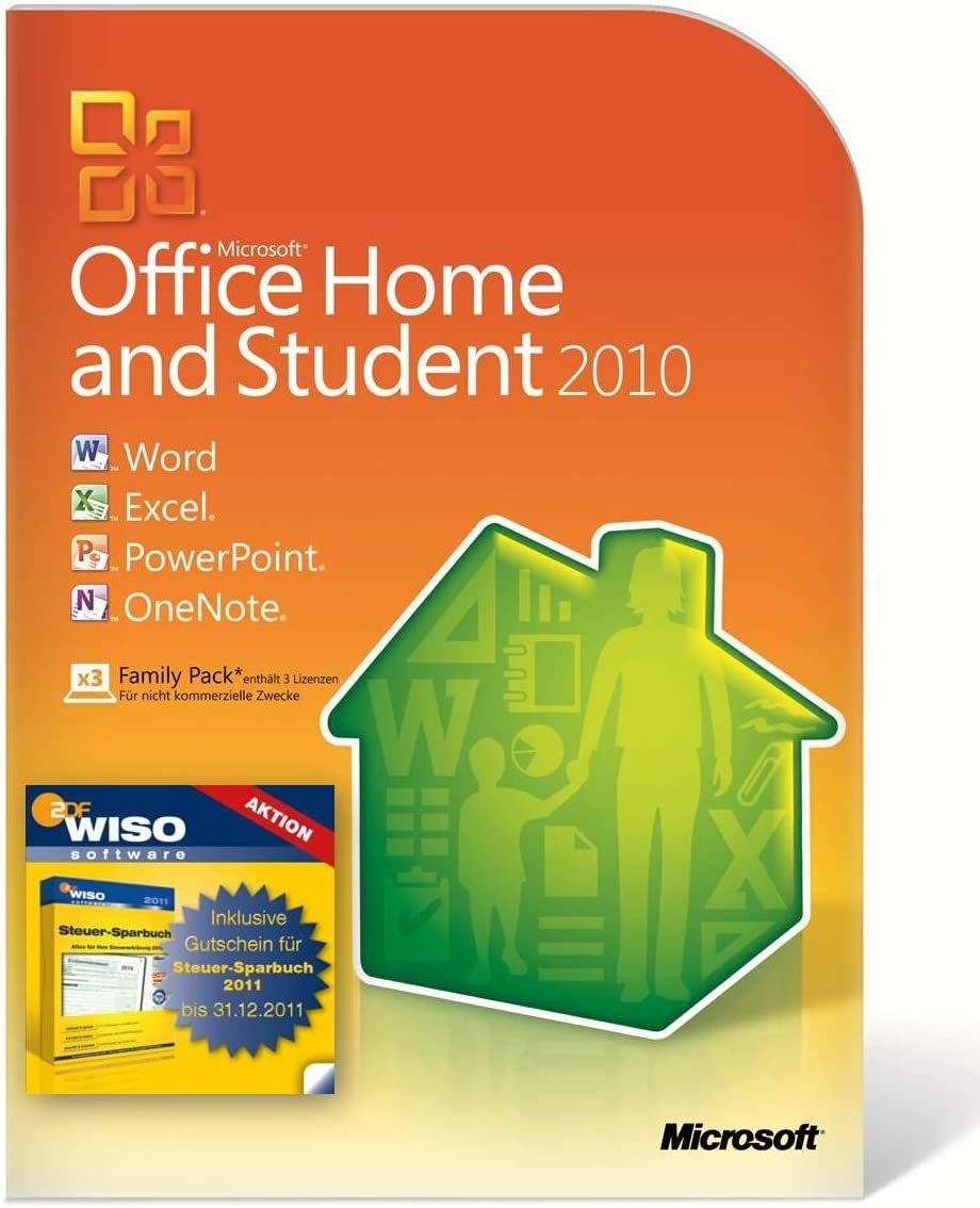 Microsoft MS Office 2010 H&S WISO DVD incl - Utilidades generales (WISO, 500 MHz, 256 MB, 3072 MB, 512 MB, Windows 7/Vista, SP1/XP, SP3 Server 2008/2003, SP2): Amazon.es: Software