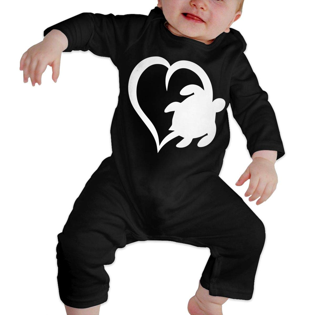 Sea Turtle Heart Love Baby Girl Long Sleeve Romper Jumpsuit Kid Pajamas Onsies