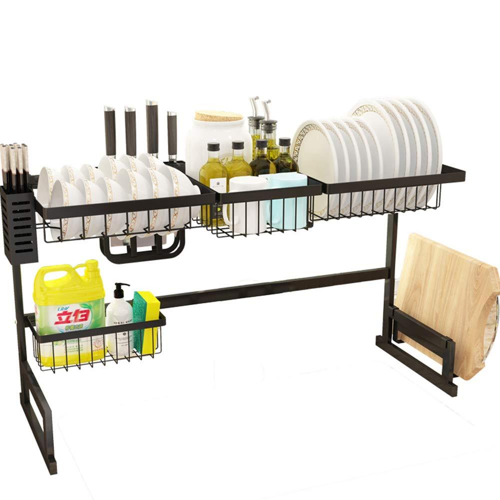 キッチンステンレスシンクラック、取り外し可能な排水皿ラック、多機能野菜ラック収納ナイフホルダー、85 cm   B07S8PQYRZ