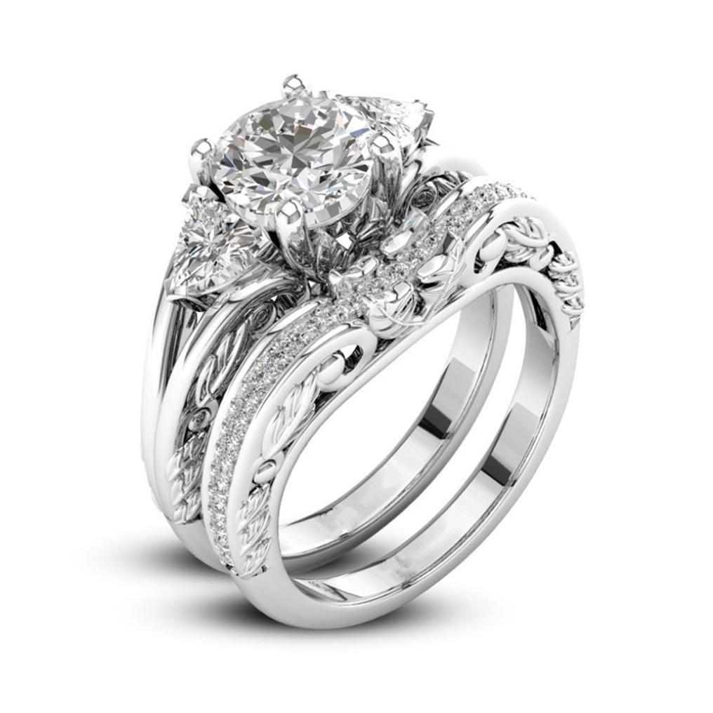 Sinwo 2-in-1 Women Zirconia Ring Creative Set Ring Exquisite Engagement Ring Wedding Band Bride Ring (6, Silver B)