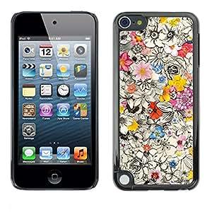 FECELL CITY // Duro Aluminio Pegatina PC Caso decorativo Funda Carcasa de Protección para Apple iPod Touch 5 // Busy Floral Pattern Ink Pen Drawing Petals