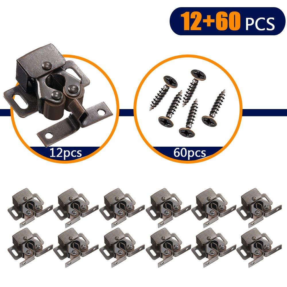 Coardor 12Pcs Door Catches,Double Roller Stainless Steel Catch with 60Pcs Screws for Closet Door and Cabinet Hardware Catch (Bronze)