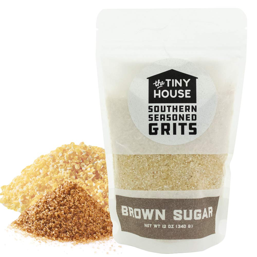 The Tiny House Stone Ground White Corn Seasoned Grits with Brown Sugar Spice - Old Fashioned Flavored Grits - Easy to Prepare Southern Grits – Proudly Made in the USA - 12 Ounce Bag