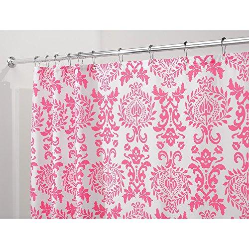 InterDesign Damask Fabric Shower Curtain, 72 x 72, Hot Pink