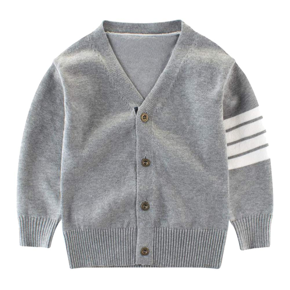 Motteecity Fashion Boys Long Sleeve Woolen V-Neck British Style Cardigan Grey 4T
