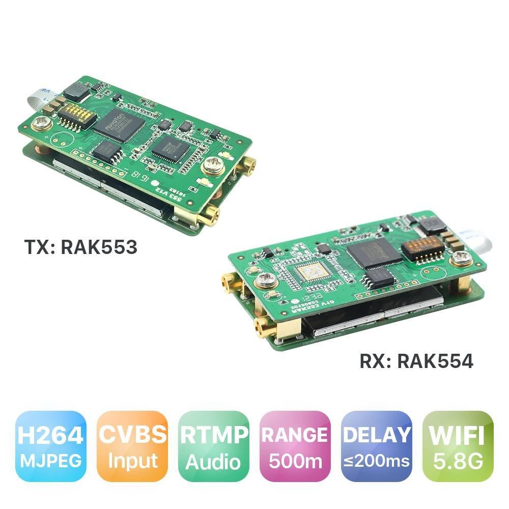 RAKWireless Flylink AV Wireless Transmitter CVBS, FPV/Drone Video Transmission, CVBS 5.8G WiFi Transmitter, AV WiFi Camera,Backup Camera WiFi