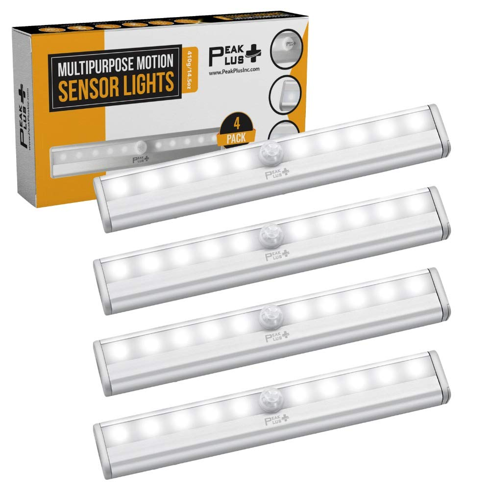 LED Motion Sensor Light 10 LED Battery Operated Lights - LED Under Cabinet Lighting - Stick On Lights Magnetic Wireless Motion Sensor Night Light for Closet, Counter, Stairway [4 Pack] by PeakPlus by PeakPlus