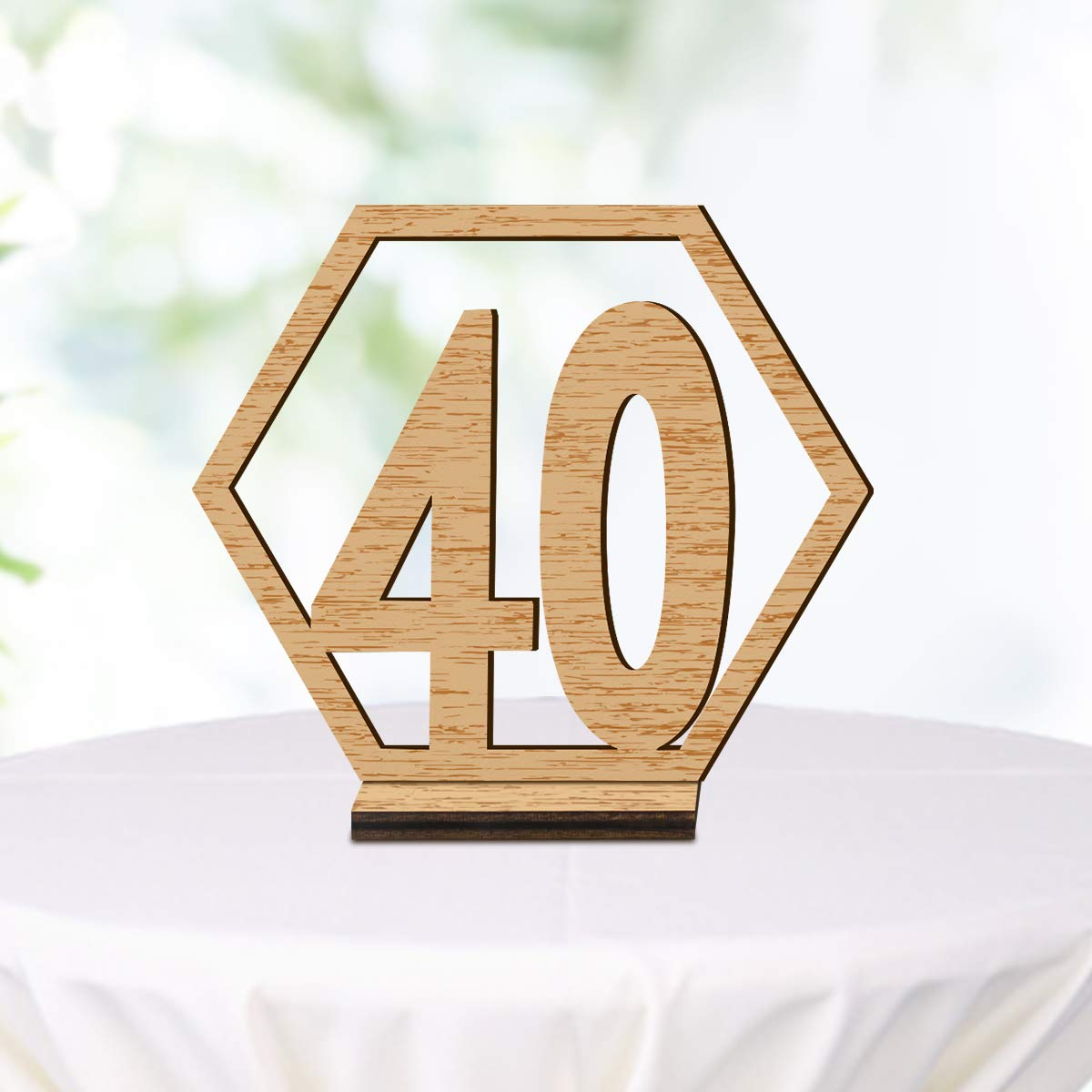 ElekFX Table Numbers 20 Pack NO.21-40 Wedding Wooden Desk Number Cards with Base Party Card Double Sided Design Table Holder for Wedding Reception and Decoration (M)