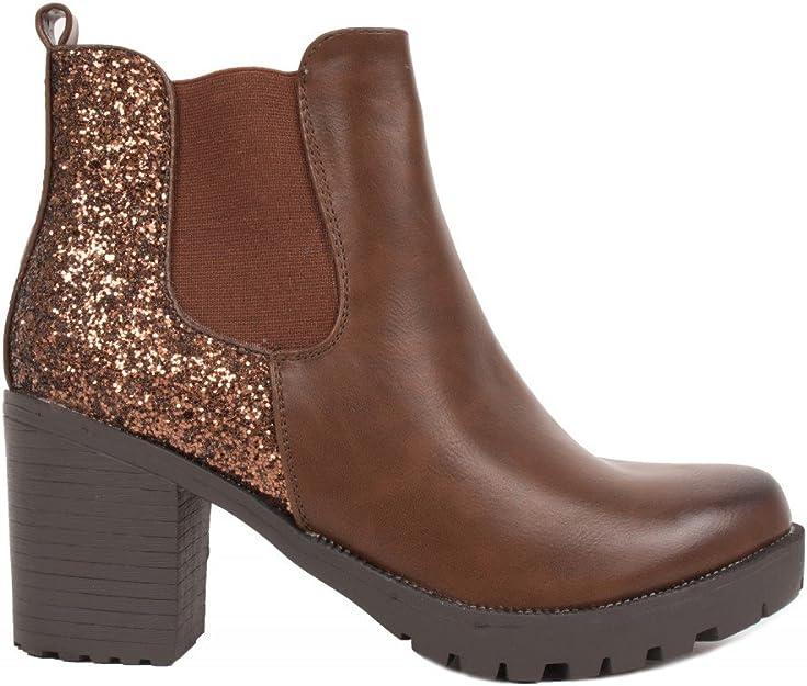 Primtex Boots Chelsea Femme Noir à Talon épais Bottines à Paillettes en Simili Cuir