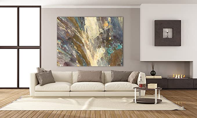 Giant Art Waters Edge Huge Contemporary Abstract Giclee Canvas Print For Office Home Wall Decor Stretcher 72 X 54 Inches 72 X 54 Posters Prints Amazon Com