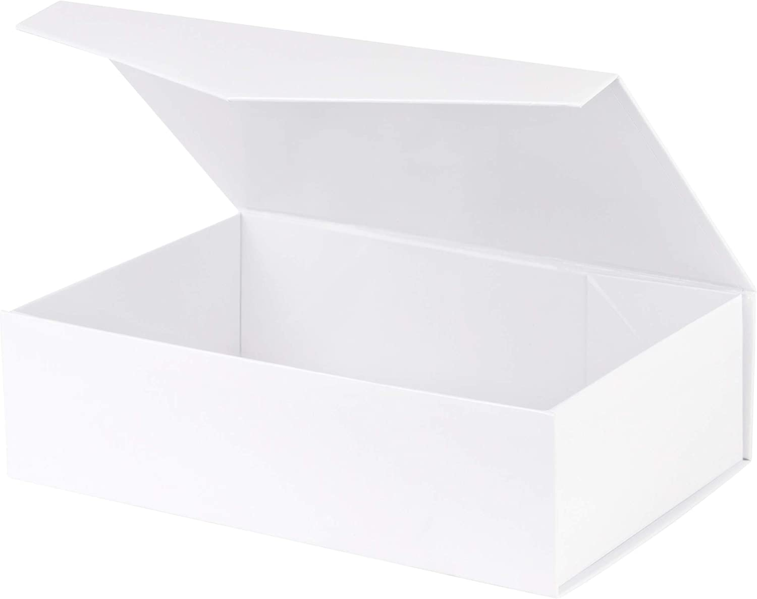 "White Hard Gift Box with Magnetic Closure Lid 14"" X 9"" X 4"" 1 Pack Gift Boxes with White Glossy Finish (1 Pack)"