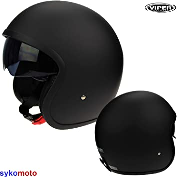 Amazon.es: Viper V06 RETRO URBAN JET SCOOTER INTEGRADO VISERA CASCO ABIERTO NEGRO MATE (M (57-58cm))
