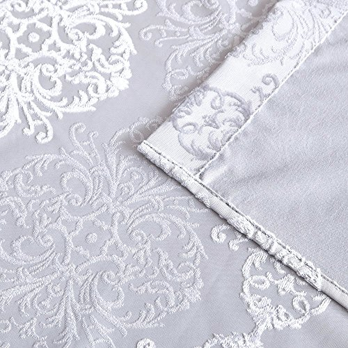 """Warm Home Designs Pair of Standard Length 37"""" x 84"""" Metallic White 100% Blackout Isolated Thermal Bedroom Curtains. Total Blackout Curtains Contain 2 Panels in Each Package. JE White 37 x 84"""