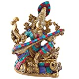 Big Gorgeous Saraswati Playing Veena Statue - Brass Metal with Gemstone Work - 10 Inches Tall