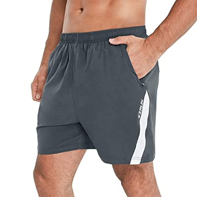 EZRUN Mens Workout Gym Shorts Quick Dry Lightweight Running Shorts for Men with Zipper Pockets