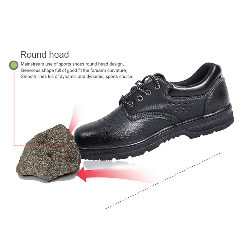 Yodensity Hombres Mujeres Zapatos Negros de La Seguridad Encaje Las Botas de Trabajo Calzado de Cuero Pisos con Tapa de ACERO Toe Capa Antideslizante EYcln85U
