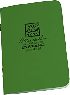 "product image for Rite in the Rain All-Weather Stapled Notebook, 4 5/8"" x 7"", Green Cover, Universal Pattern, 3 Pack (No. 971FX)"