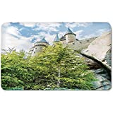 Memory Foam Bath Mat,Wizard,Witchcraft School and Wizard Castle in Woods Replica in Japan Picture PrintPlush Wanderlust Bathroom Decor Mat Rug Carpet with Anti-Slip Backing,Green Blue Beige