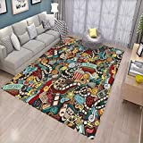 Doodle Bath Mats Carpet Cinema Items Combined in an Abstract Style Popcorn Movie Reel The End Theatre Masks Door Mats for Inside Non Slip Backing Multicolor