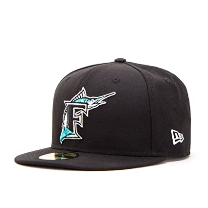 Amazon.com   New Era 59FIFTY Florida Marlins Cooperstown Fitted Hat ... 9a4191bb902