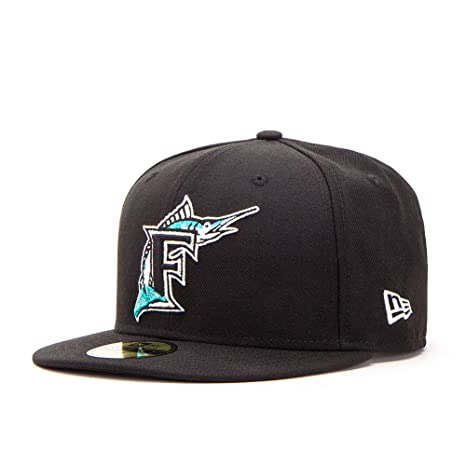 c6dc189a2 Amazon.com : New Era 59FIFTY Florida Marlins Cooperstown Fitted Hat ...