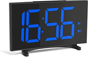 YISSVIC Digital Alarm Clocks for Bedrooms 6.5 Inches LED Clock with Separate Snooze Button 6 Brightness Dimmer 24/12 Hour Setting Dual Alarm Options for Travel Bedroom Office Kitchen Without Adapter