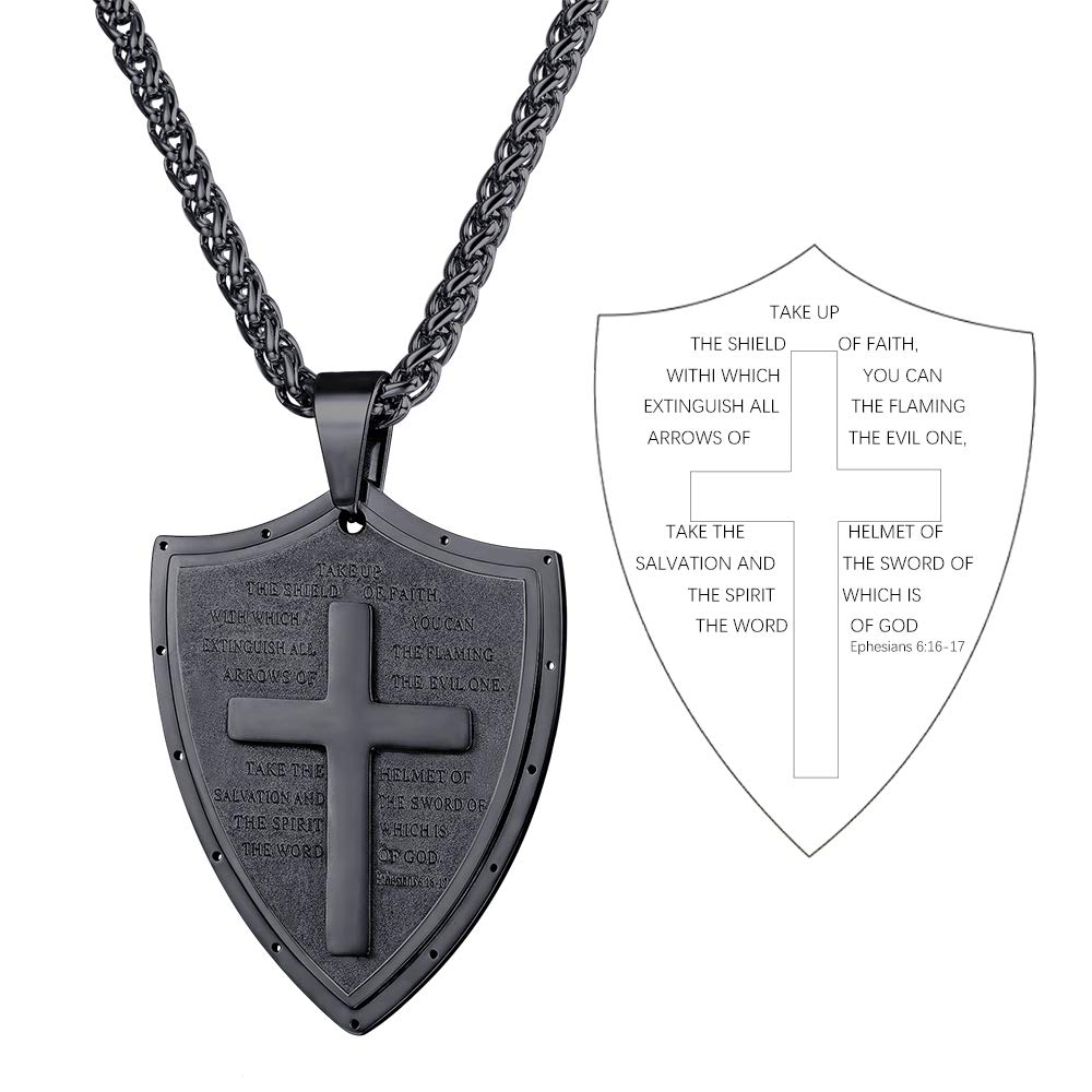 3 Color Options Text Engrave Customizable U7 Shield of Faith//Inspirational Pendant Chain 22 Inch Joshua 1:9 Cross Amulet Necklace