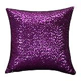 Joopee Hot Sale Sequins Pillowcase, Solid Color Glitter Sequins Throw Pillow Case Cafe Home Decor Cushion Covers (40cm40cm, Purple)