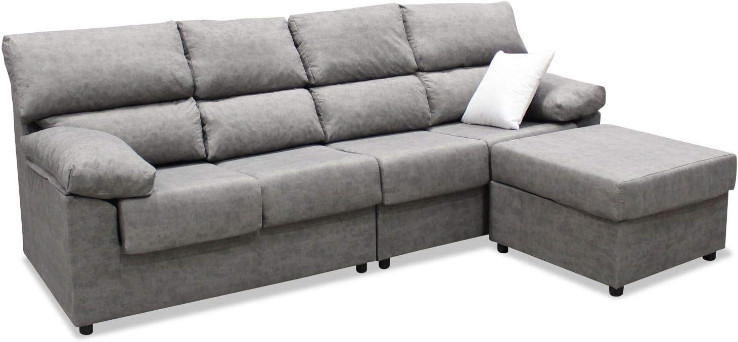 Mueble Sofa ChaiseLongue, Subida Domicilio, Cuatro plazas, Color Gris, cheslong Anti Manchas ref-07