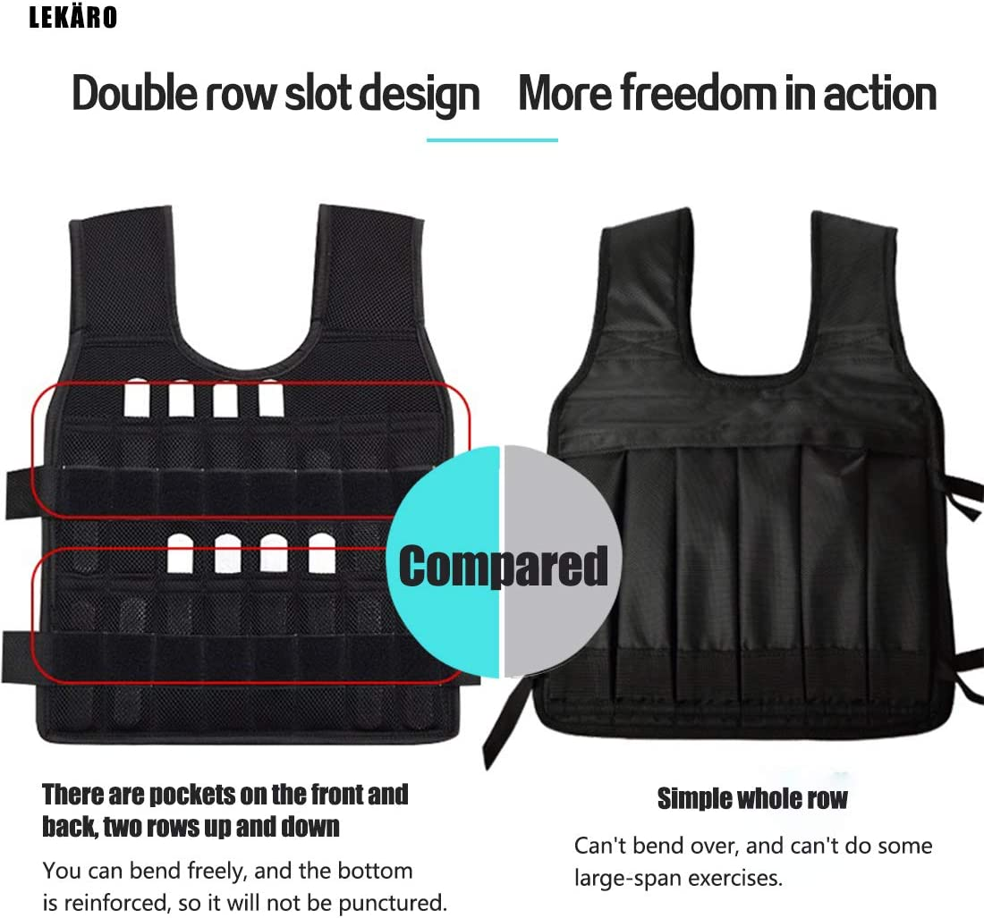 LEK/ÄRO Adjustable Weighted Vest 44LB Fitness Weight Training Workout Boxing Jacket Including Weight: 96 electroplated Lead Blocks