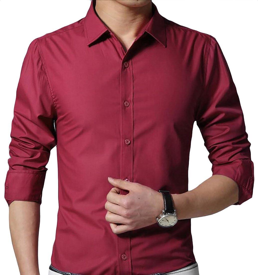 Keaac Mens Shirt Lapel Long Sleeve Button Down Solid Shirt