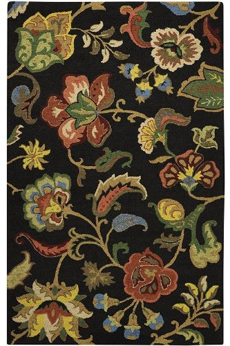 Chintz Area Rug, 3'x5', CHARCOAL