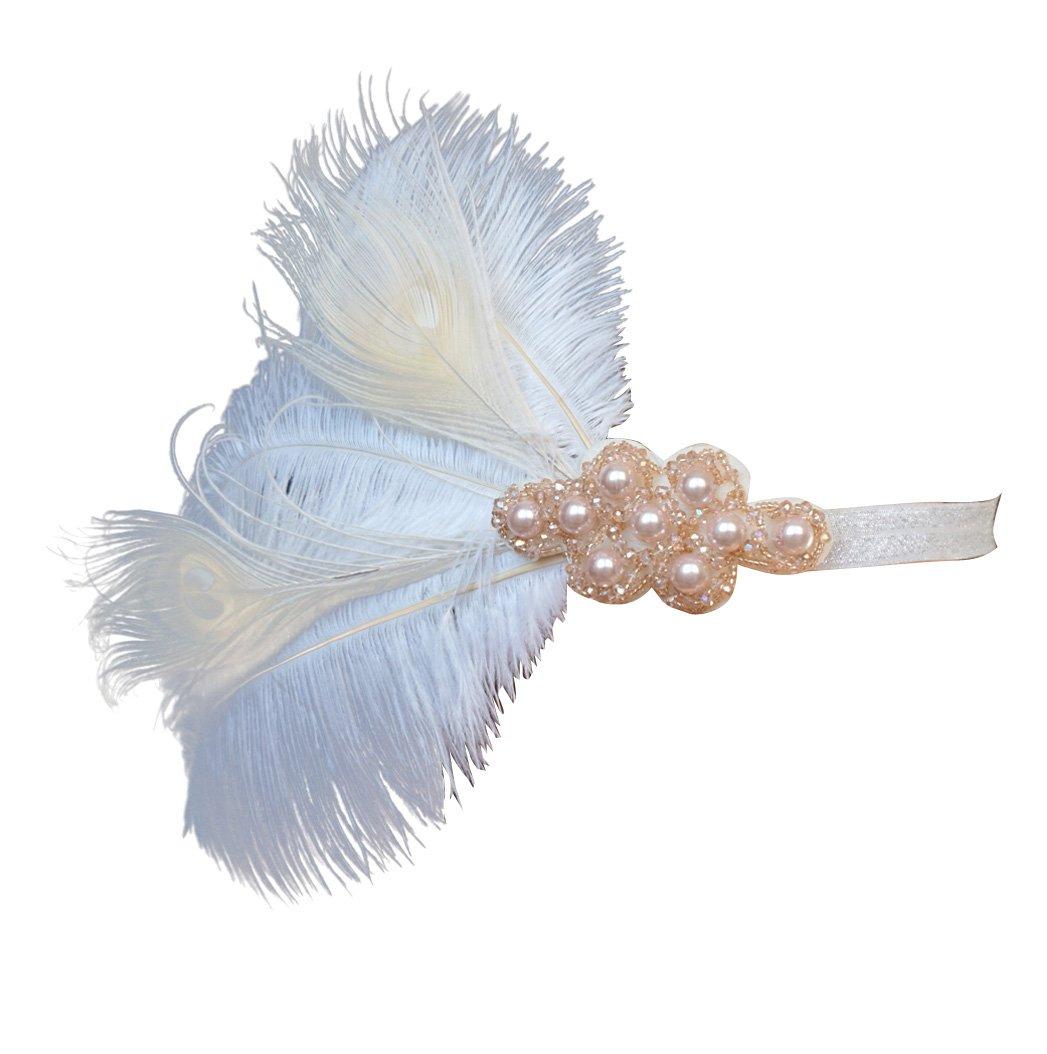 Blank K Vintage Inspired Bridal Forehead Tiara 1920s Great Gatsby Flapper Ostritch Feather Headband Prom Wedding Headpiece