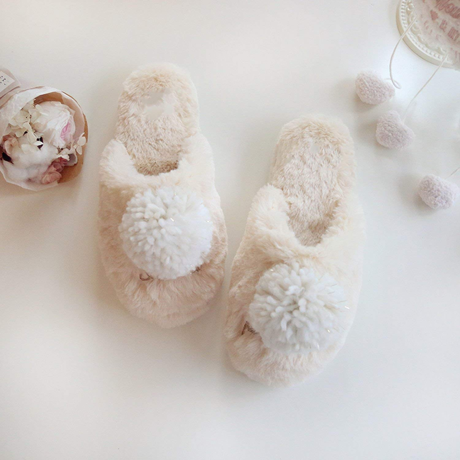 Fantastic-Journey Cute Ball Winter Home Slippers for Indoor Bedroom House Soft Bottom Cotton Warm Adult Guests Flats