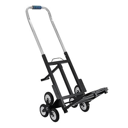 Tecmaqui Carretilla de Carga para Escaleras Capacidad de 150kg Carro Portátil de Escalera para Todos los Terrenos Carretilla Plegable con 6 Ruedas: ...