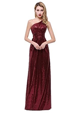 3bdacba6b70 Honey Qiao One Shoulder Bridesmaid Dresses Sequins Long Pleats Belt Prom  Party Gowns Burgundy